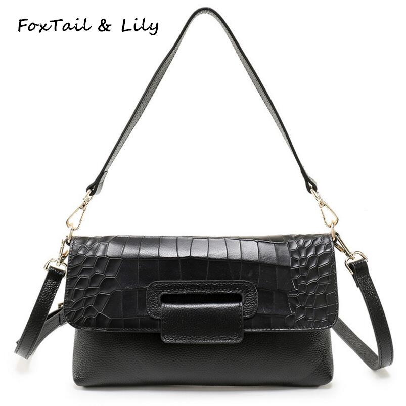 884e560699 FoxTail   Lily Fashion Crocodile Pattern Envelope Clutch Bag Women Genuine  Leather Casual Shoulder Messenger Bags Luxury Quality Clutch Purses  Discount ...