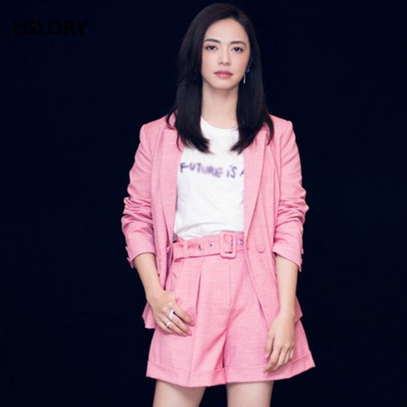 0906dee6d 2018 Autumn New Style Fashion Blazer Suits Ladies Pink Coat Blazer Belt  Shorts Set Two Piece Outfit Women Jacket Suits Set