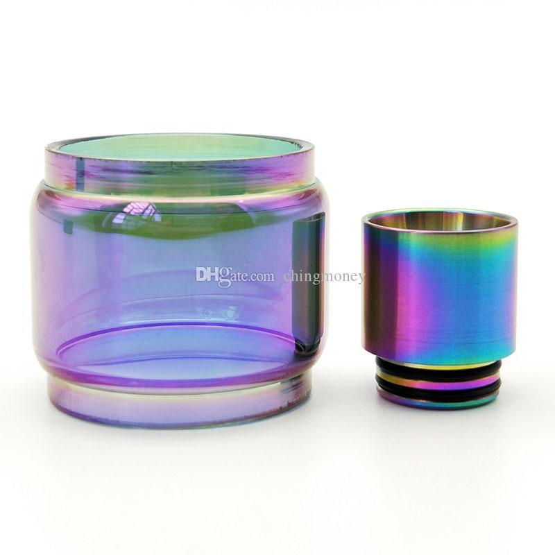 Tubo di vetro di espansione dell'epossidico della sostituzione variopinta dell'arcobaleno con punta di gocciolamento del metallo 810 TFV12 principe TFV8 grande bambino RBA X-Baby Tank shiping libero
