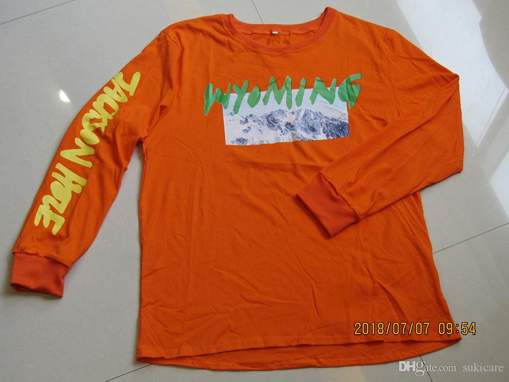 2018 New Wyoming Mountain Hill Printed T Shirts Spring Autumn Kanye West Tops Tees Long Sleeved