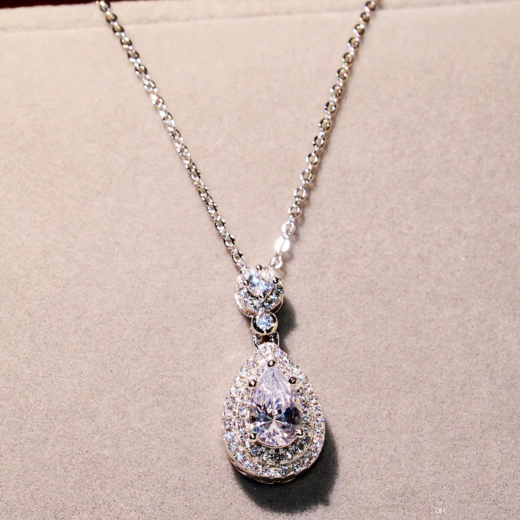 Meistverkaufte Großhandel Professionelle Luxus Schmuck Wassertropfen Halskette 925 Sterling Silber Birne Form Topaz CZ Diamant Anhänger Für Frauen Geschenk