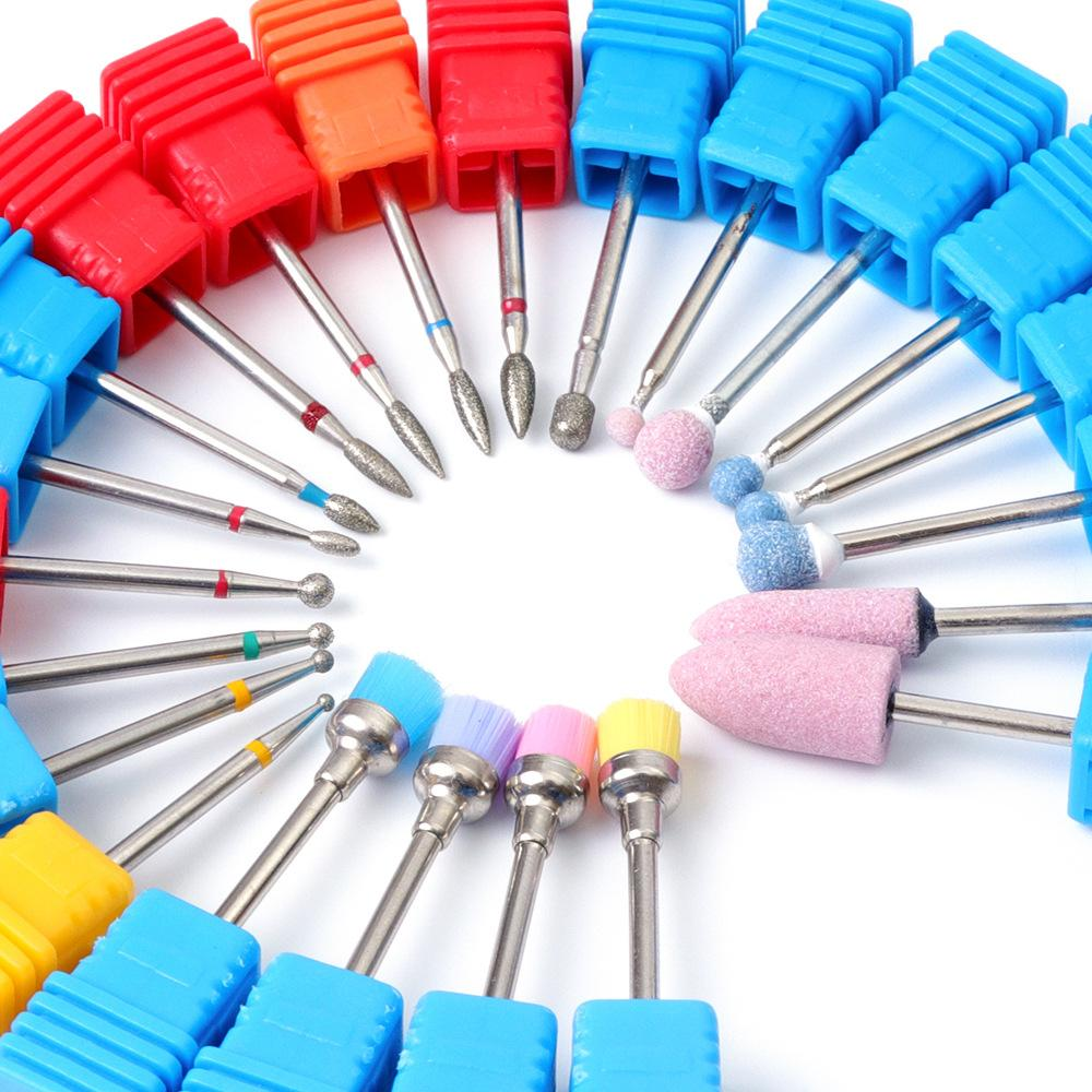 21 Types Grinding Stone Silicone Nail File Drill Bit Burr Milling Cutter  Manicure Set For Electric Nail Drill Machine SG