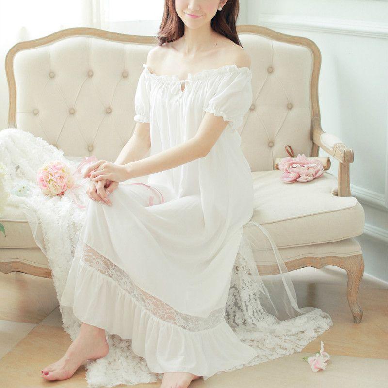 2019 2018 Women Nightgowns Lolita Cotton Home Clothing Long Nightdress Lace  Ruffles Sleepwear Homewear Vintage Princess Sleepshirts From Bestdh2014 a52eecac9