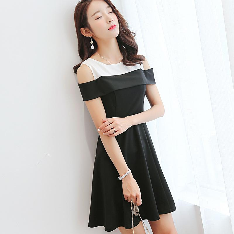 ac4b513485e Summer Dress Women Clothes Short Sleeve Hollow Out Patchwork Dress Casual  Dresses Slash Neck Korean Cute Student Dress Vestidos Prom Gowns Cute  Dresses For ...