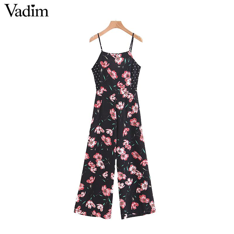 730d86fb74e 2019 Wholesale Vintage Floral Dot Patchwork Jumpsuits Back Bow Tie Cut Out  Design Spaghetti Straps Rompers Ladies Retro Playsuits KA138 From  Luzhenbao521