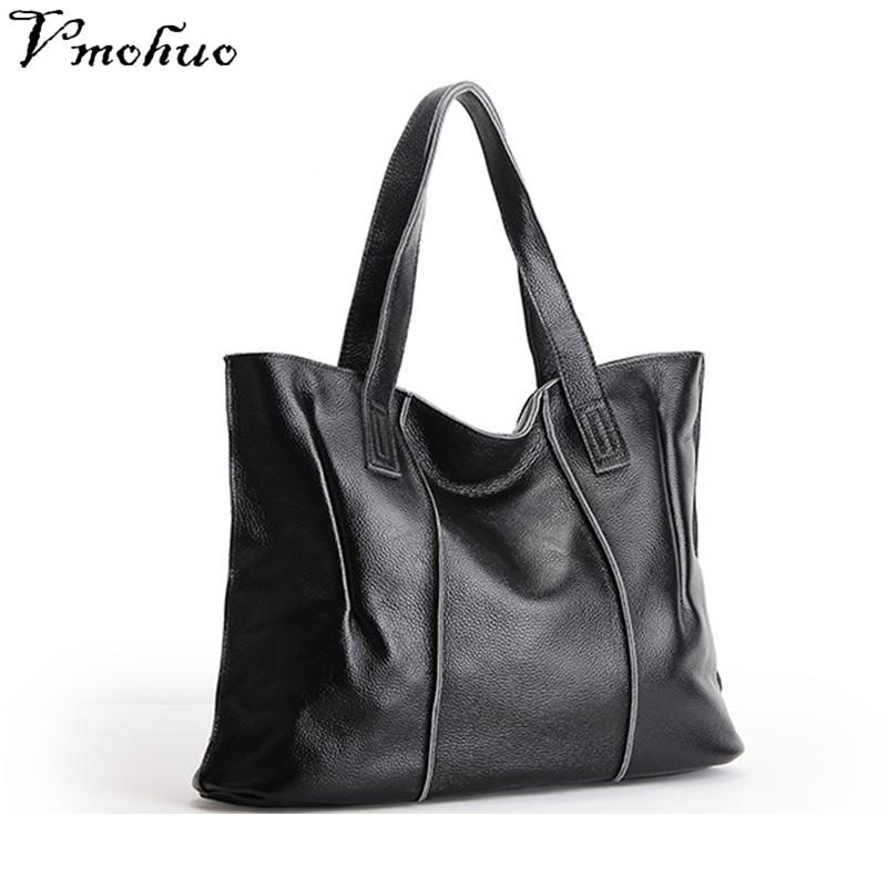 30440a70a VMOHUO 100% Genuine Leather Female Shoulder Bags New Style Women Handbag  Ladies Black Tote Bag Large Capacity Shopping Bags Cheap Bags Cute Purses  From ...