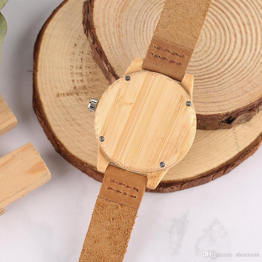 Orologi da donna in legno Bracciale con numeri arabi alla moda Cinturino in vera pelle Regalo della fidanzata Orologio in bambù con la natura gialla