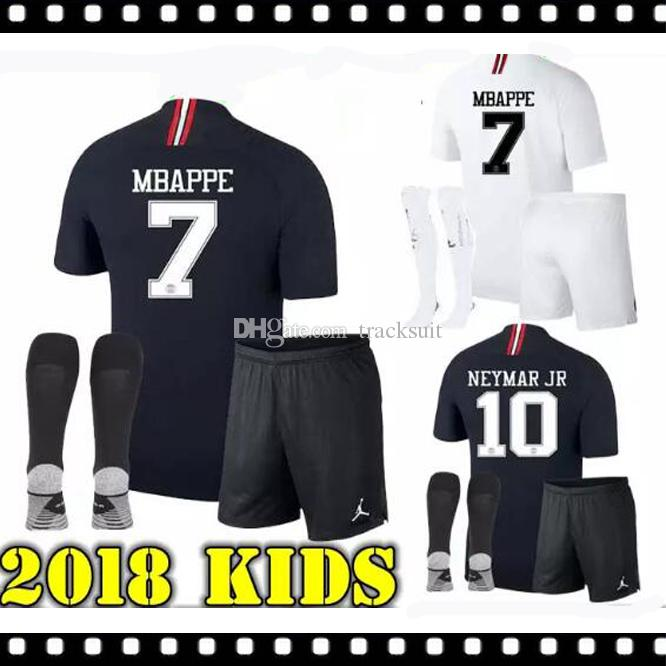 meet 4211c d05ad Best 2018 Psg kids kit jersey 18 19 Champions League MBAPPE black white  CAVANI VERRATTI TRACKSUIT MARIA Jordam Soccer jerseys Paris maillot