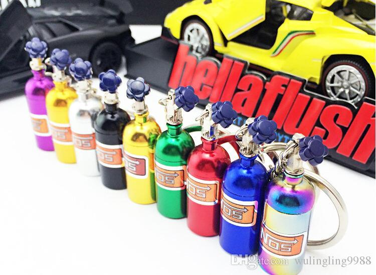 NOS Turbo bottiglia di azoto metallo portachiavi portachiavi portachiavi auto gioielli ciondolo portachiavi le donne uomini unico mini portachiavi