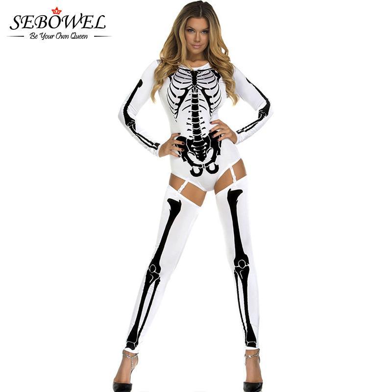 SEBOWEL Bone Skeleton Adult Halloween Scary Costumes for Women White ... 6cce7ea63