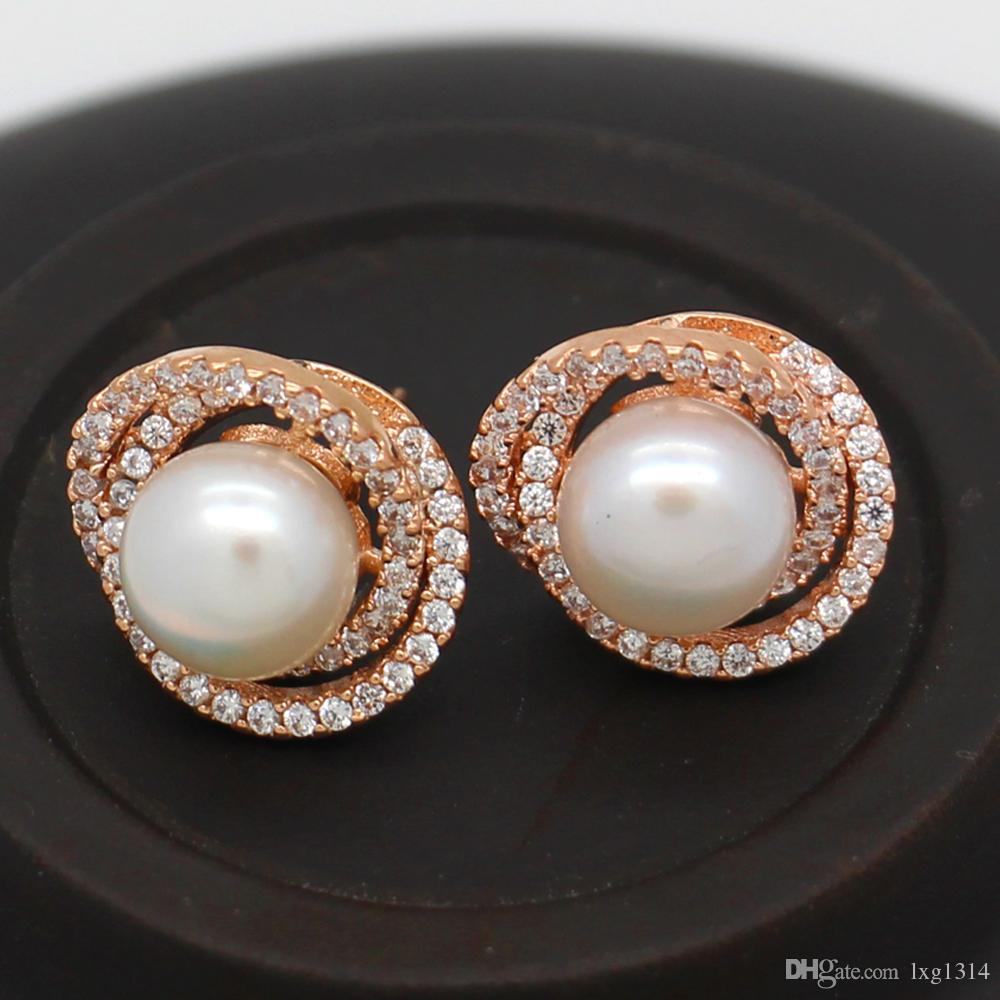 122253b9115 Party Surprise Gift Fashion Natural Freshwater Pearl Earrings Rose Gold Ear  Studs Fashion Charm Jewelry Spot Wholesale
