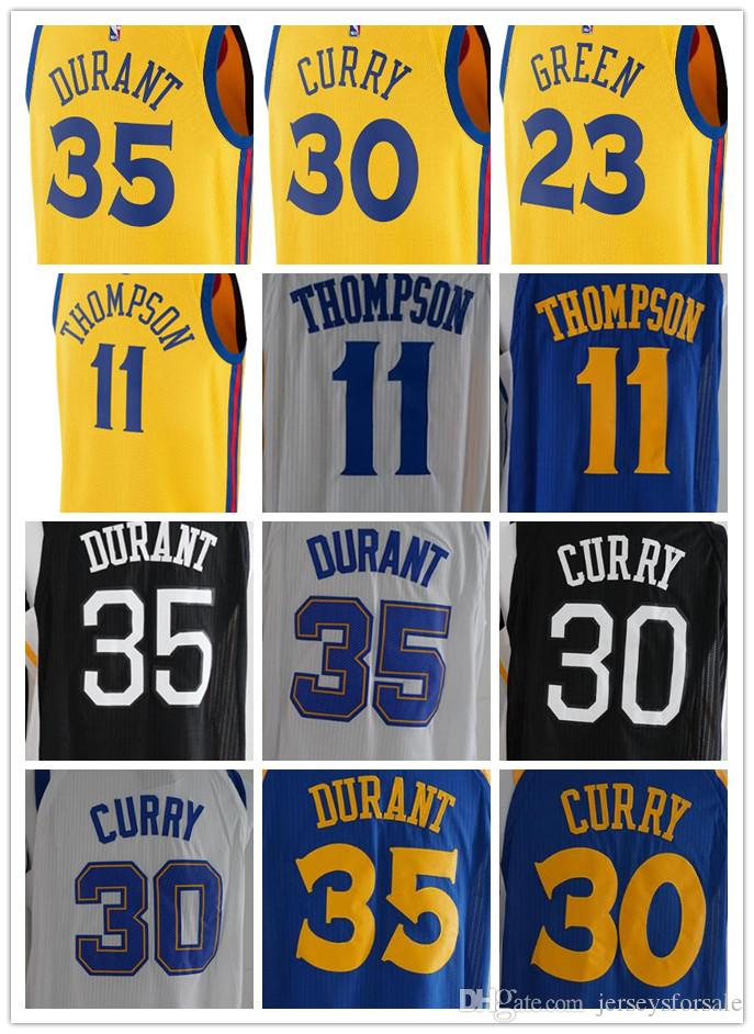 size 40 3c1ad 21126 2017-2018 NEW Golden State Mens Warriors Jerseys 30 Curry 35 Kevin-Durant  11 Klay-Thompson Basketball Jersey