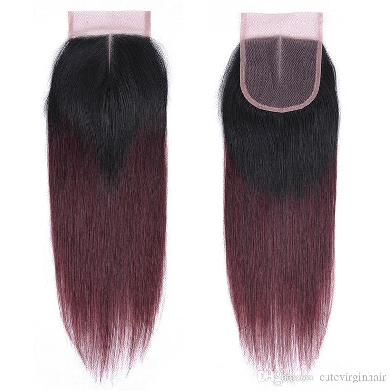 Ombre Colour Cheveux Fournisseurs Cheveux Humains Armure Partie Moyenne 4x4 Dentelle Extensions de Fermeture Naturel Noir 1B / 27 1B / 30 1B / 33 1B / 99J