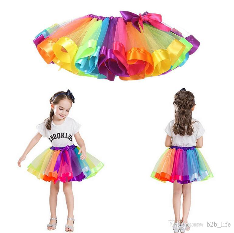 Girls Kids Rainbow Party Ballet Dance Tutu Skirt Tulle Dress Pettiskirt Tutu Dance Wear Skirts Ballet Pettiskirts Dance Skirt KKA4140