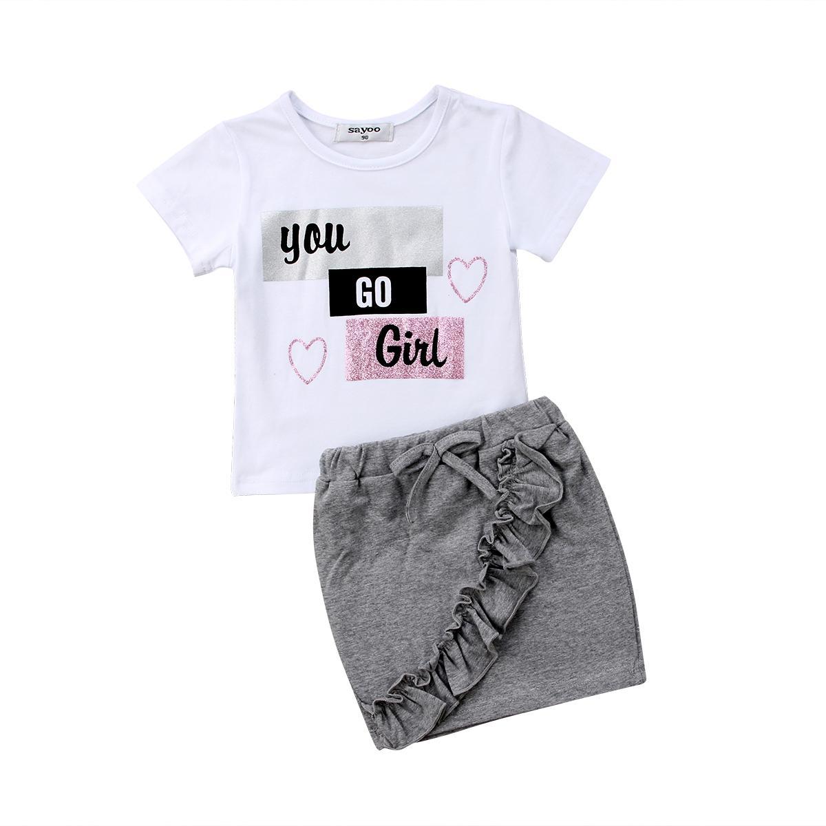 03d90f49e59de Girl Clothing Cute Outfit 2PCs Newborn Kid Children Baby Girls Clothes Set  Summer Short Sleeve Cotton Tops T-shirt Denim Skirts