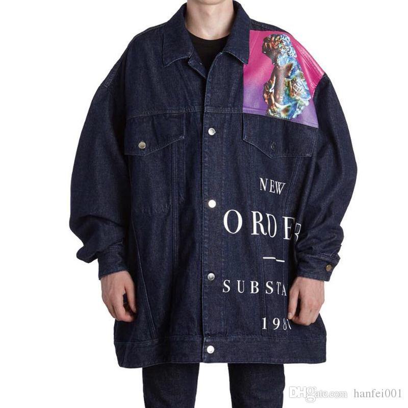 b5d2f980cd3 RAF SIMMONS BLUE DENIM JACKET New Order ASAP ROCKY STYLE Long Sleeve JACKET  Fashion Hip Hop HFLSJK127