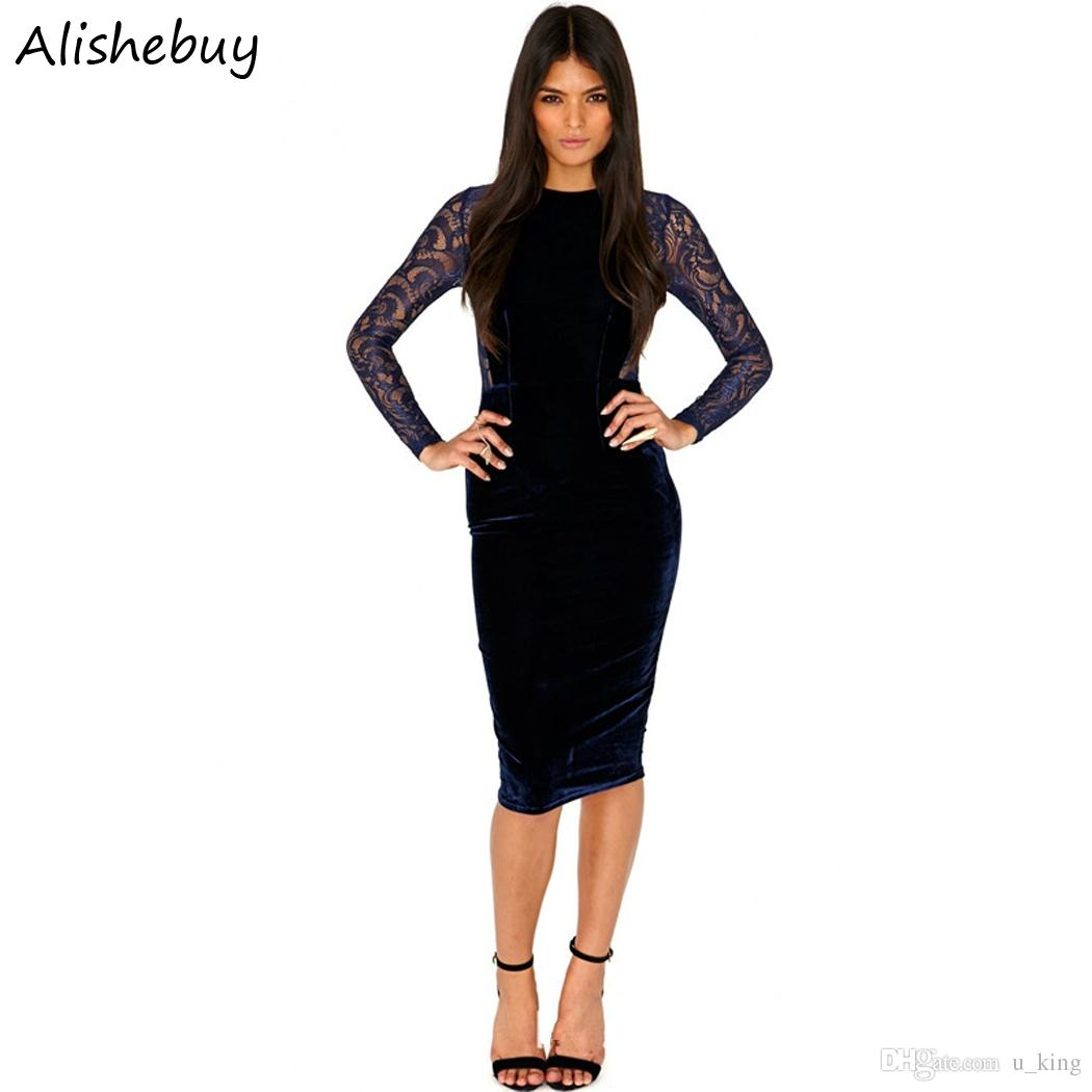 1a94fc7e19 Sexy Women Dress O-Neck Hollow Out Tops Long Sleeve Knee Length ...