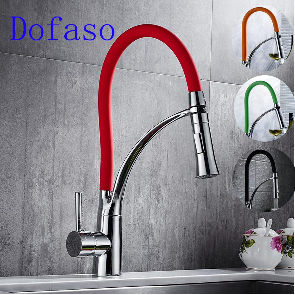 Dofaso Pull Down Kitchen Faucet Red And Black Chrome Finish Dual