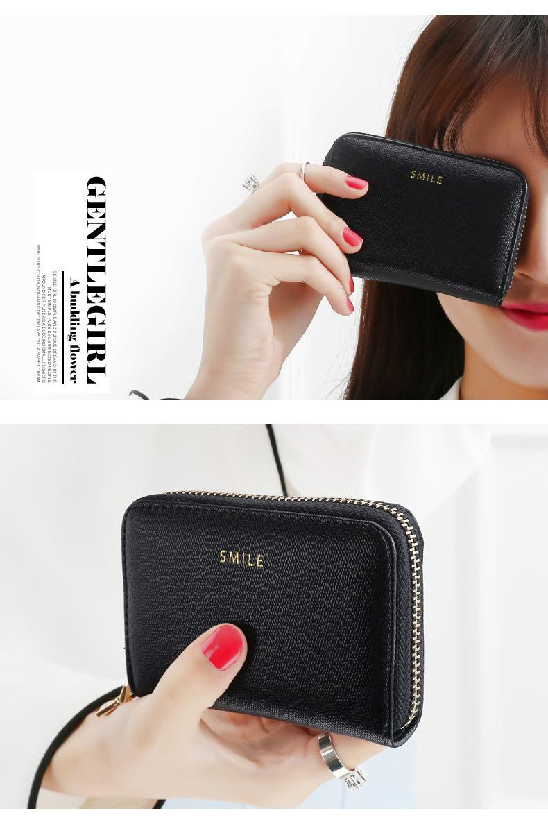 Japan and South Korea Style Fashion Zipper Multi-card Wallet High Quality PU Leather Candy Color Women's Card Holder Card Holder