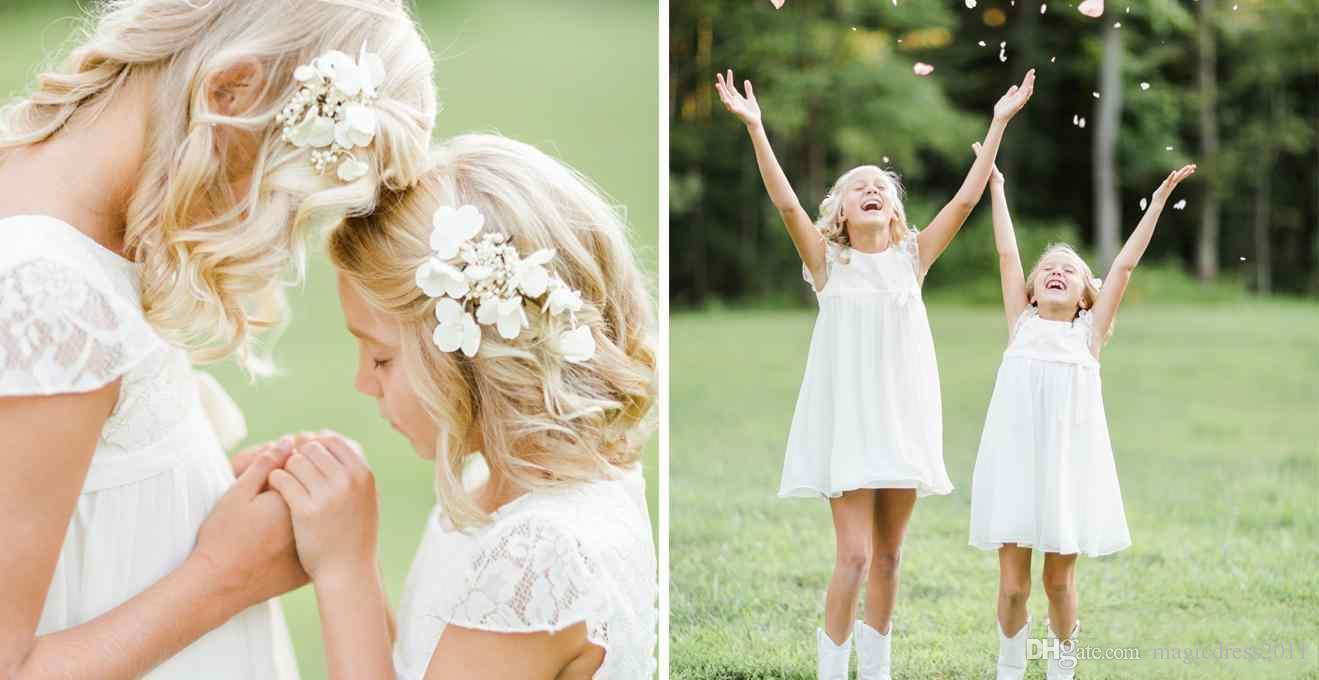 Chiffon Country Flower Girl Dresses For Wedding With Lace Top A-Line Short Sleeves Mini Jewel Neck Girls Pageant First Communion Dresses