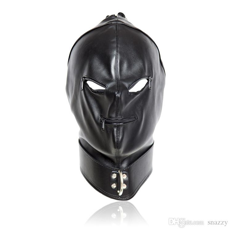 Erotic Sex BDSM Bondage Leather Hood for Adult Play Games Full Masks Zippers Fetish Face Blindfold Zipper Eye Mouth Holes for Couple Games