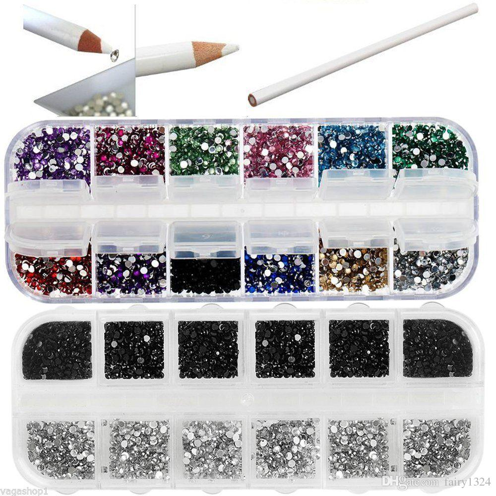 Nail Art Set DIY Kit Picker Pencil Black & Silver Crystals Rhinestones Gemstone Multi-Color Diverse nail designs