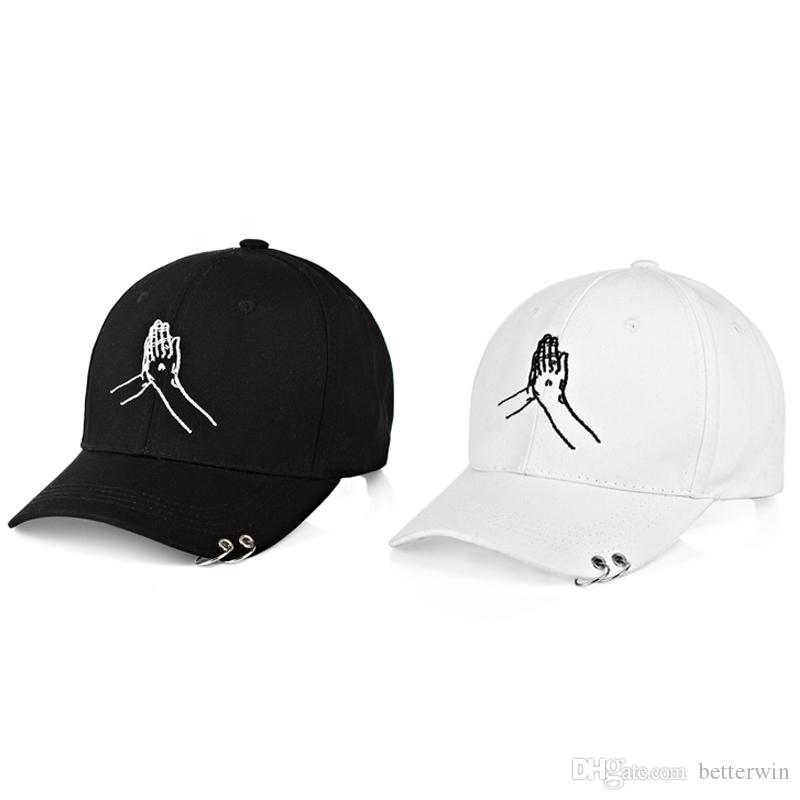 4affd611d 12PCS / LOT Iron Ring Decoration Women Baseball Cap Casual All-match  Sunshade Mens Adjustable Hat Cap 2 colors