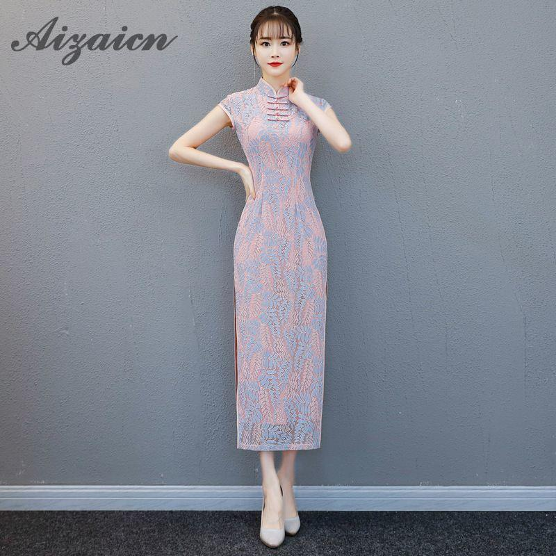 cb6265916 2019 2018 Summer Modern Chinese Traditional Dress Long Qipao Lace Mermaid  Bride Wedding Cheongsam Vestido Robe Chinoise Oriental From Tielian, ...