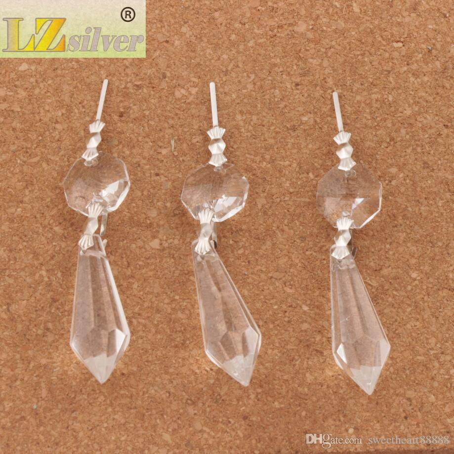 Large Clear Chandelier Glass Crystals Lamp Prisms Parts Hanging Drops Pendants Jewelry Findings Components