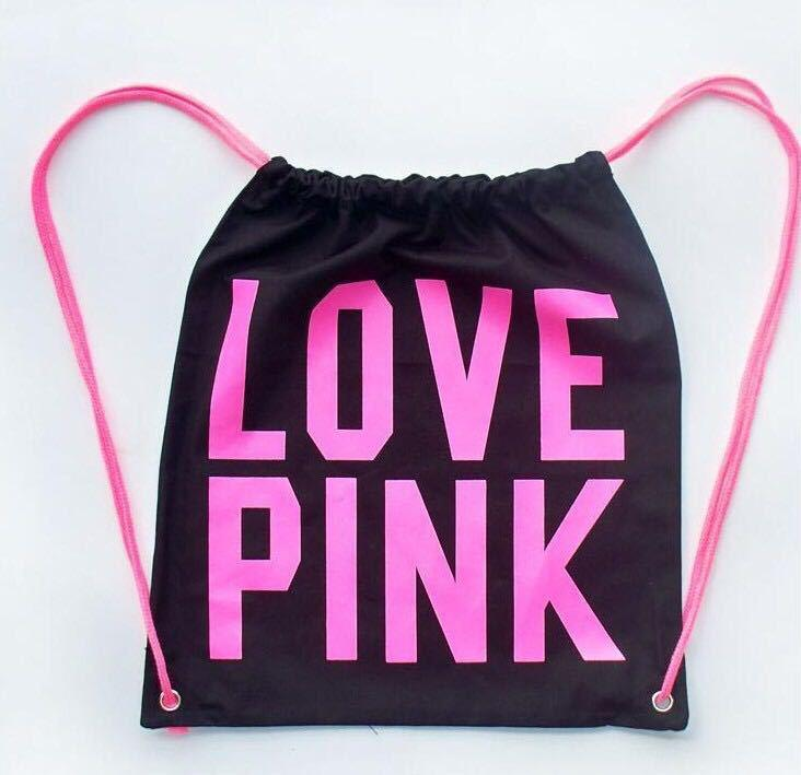 Pink Drawstring Bag Backpacks Women LOVE PINK School Bags Pink Letter Storage Bags Fashion Canvas Handbags Shopping Bags