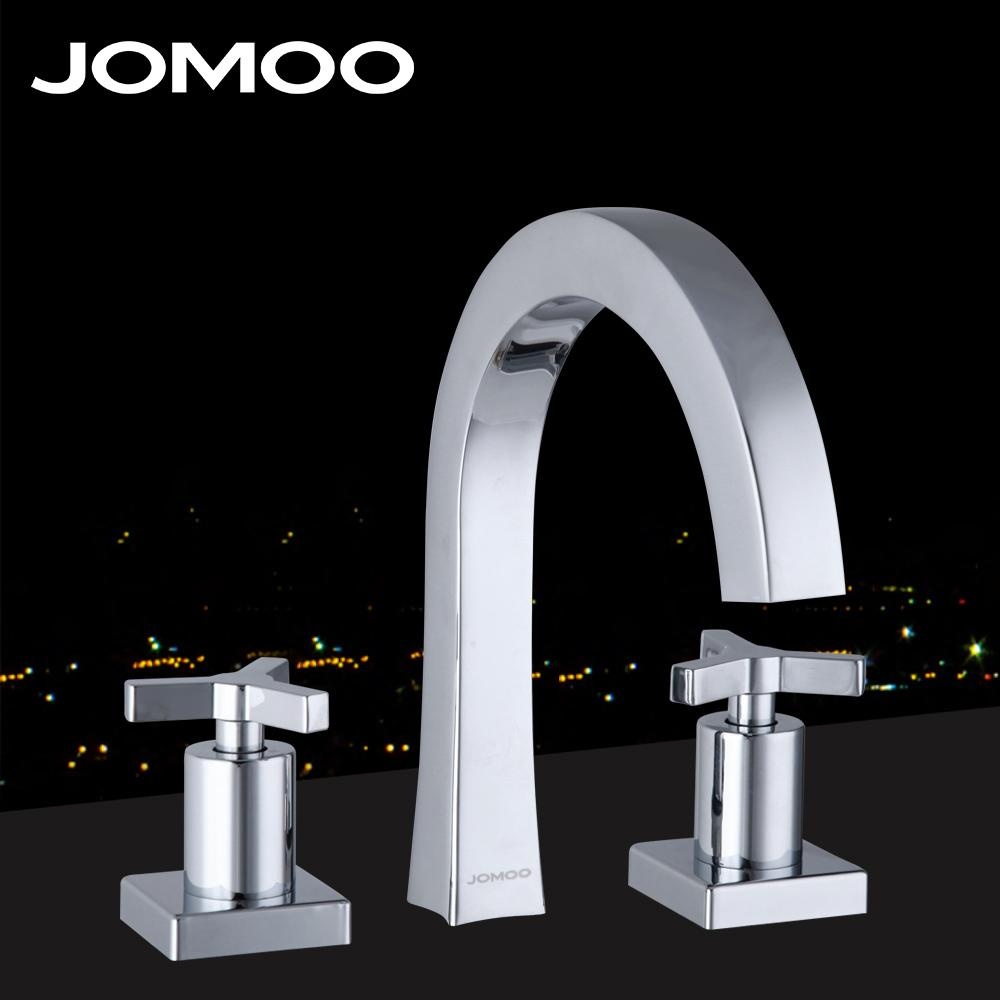 2018 Jomoo Brass Chrome Fission Basin Faucet Two Handle Three Holes ...