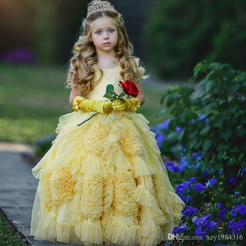 fe41e176bd3 Adorable Little Queen Birthday Dresses Gorgeous Ruffles Flowers Zipper Floor  Length Girls Pageant Dress Lovely Flower Girl Dress With Gloves Special ...