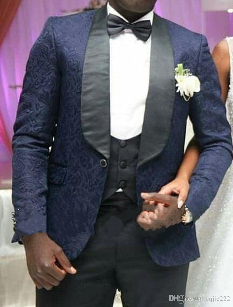 Latest Design One Button Navy Paisley Groom Tuxedos Groomsmen Best Man Suits Mens Wedding Blazer Suits Jacket+Pants+Vest+Tie 33