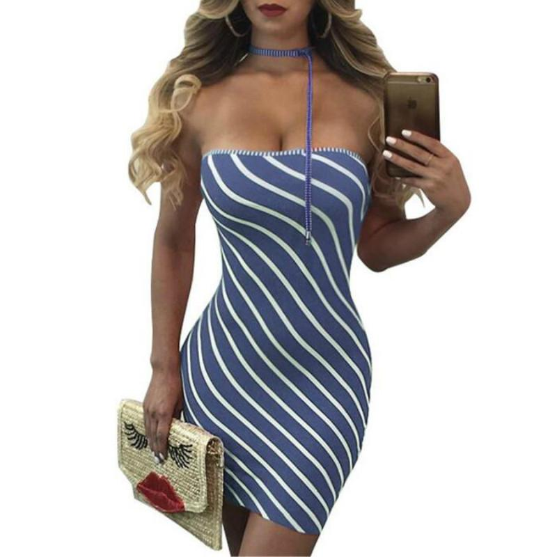 590ad17148 Black Red Striped Robe Sexy Halter Off Shoulder Elegant Bodycon Dress 2019  Women Slim Casual Party Mini Short Dresses Pink Casual Dresses For Juniors  White ...