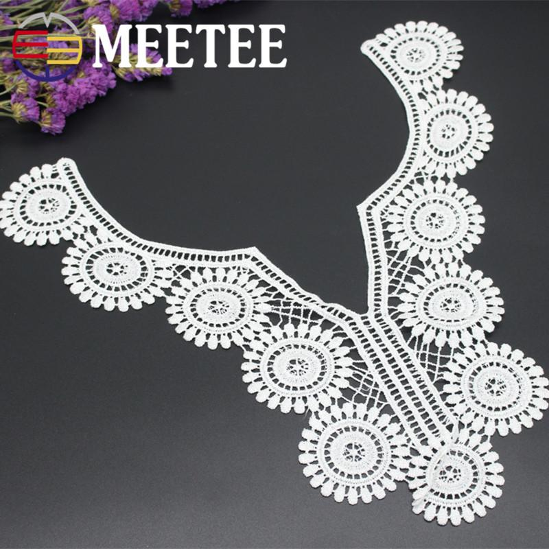 Meetee 38mm 25mm sunflower shaped lace white cotton cording collar decorative DIY accessories for shirt dress coat CBJ-11