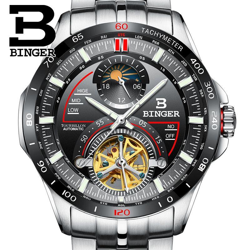 f91ff9cc94a Compre Suíça Binger Relógio Homens Marca De Luxo Mens Relógios ...