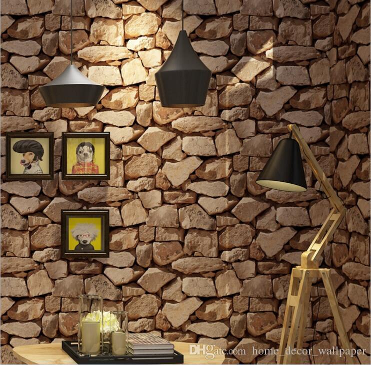 Acheter Moderne Stacked Brique 3d Pierre Papier Peint Rouleau Gris
