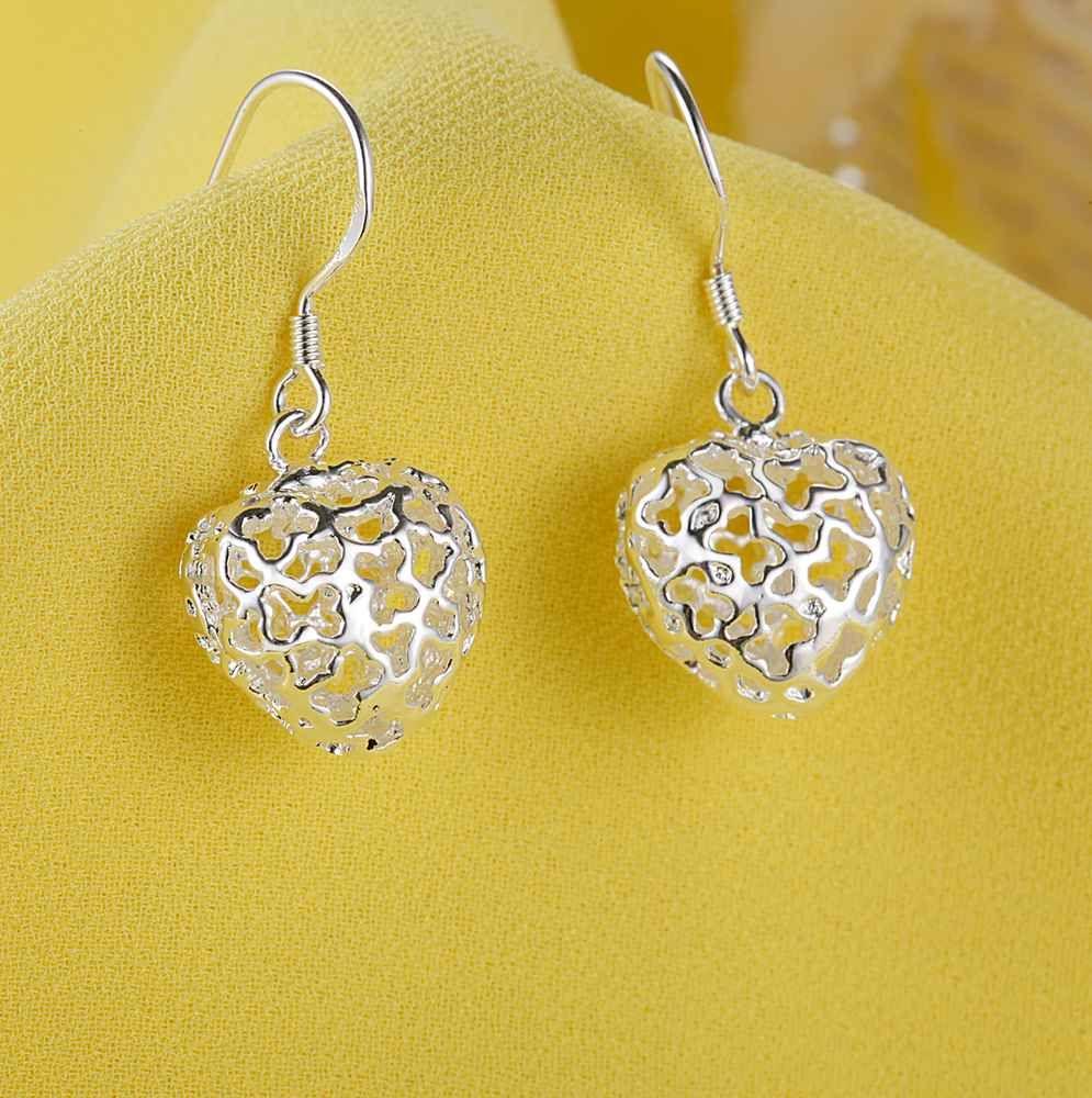 Alta calidad 925 Joyas de plata colgante de corazón pendientes de gota regalo del día de san valentín para las mujeres envío gratis /