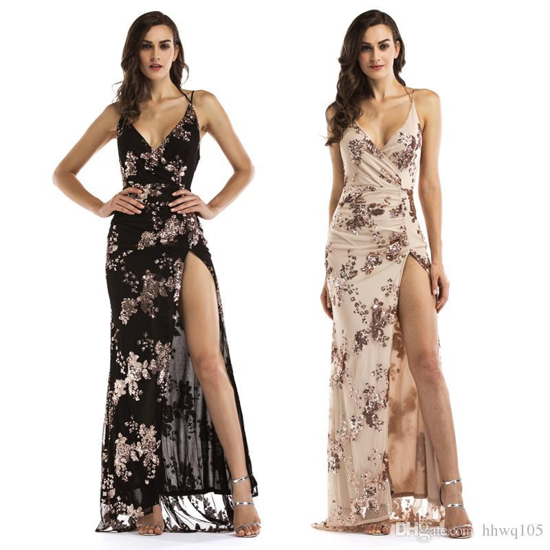 a7b00f4219 2019 New Sequined Long Prom Dress Ladies Black Gold Backless Evening Gowns  Party Dresses Chic Split Floor Length Formal Dress LJE1107 From  Lianmeijack