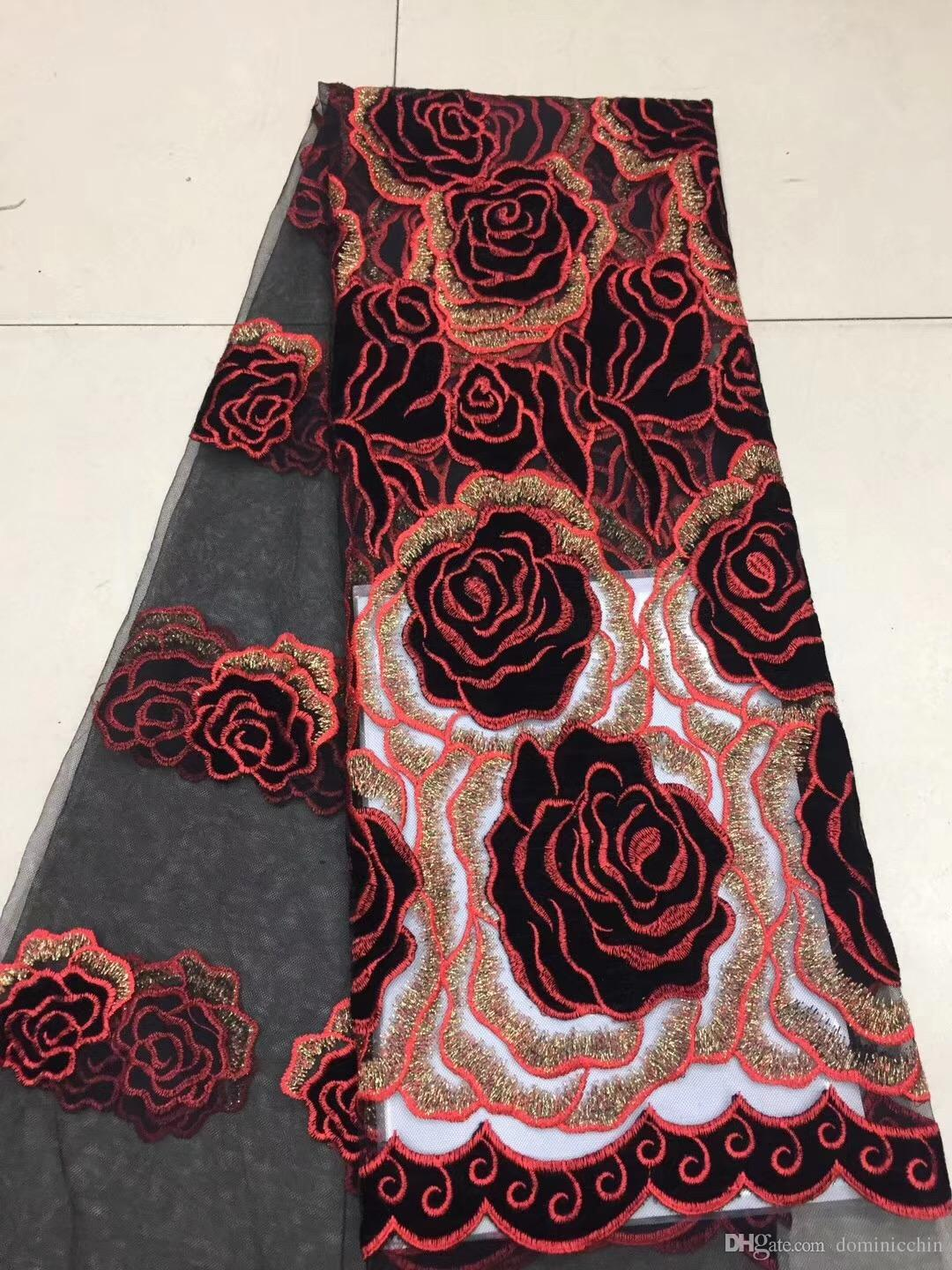 Apparel Sewing & Fabric New African Chiffon Lace Fabric High Quality Lace Embroidery Nigerian French Guipure Chiffon Lace Fabric Womens Wear