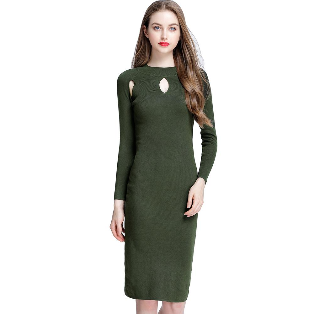 ecde55aa0d8 Women Autumn Sexy Cutout Slim Sweater Dress Solid Color Elegant Bodycon  Knitting Dress Casual Knitted Dress Green Black Burgundy Lime Green Dresses  For ...