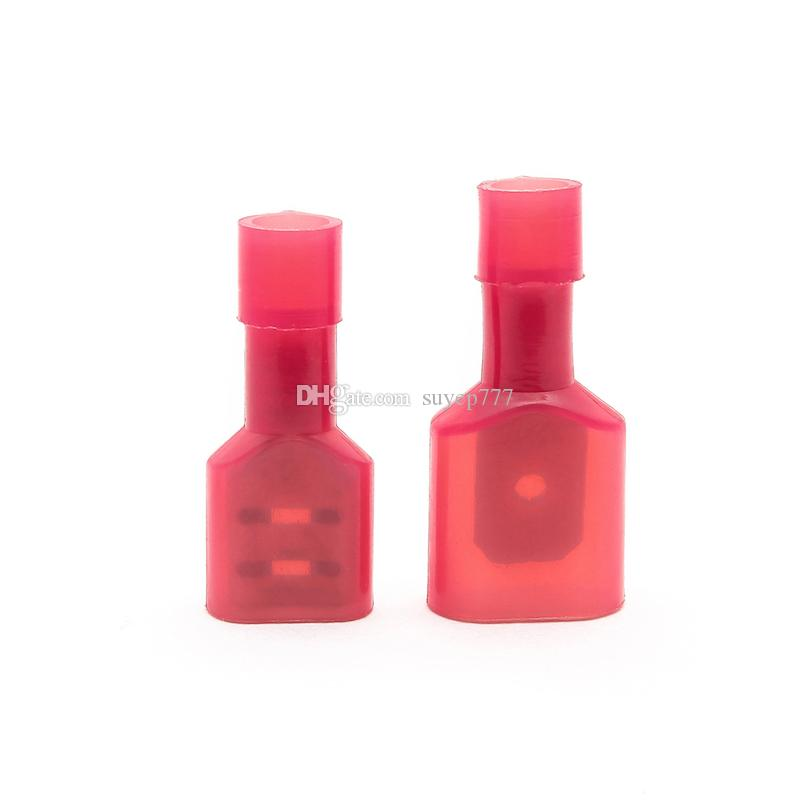 50PCS FDFN/MDFN1 25-250 Red 6 3MM Male&Female Car Fully Insulated Spade  Crimp connector Terminals Auto Wire Terminal Nylon