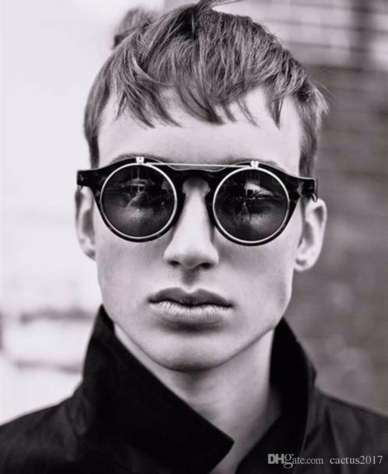 439a622fd4c Fashion Vintage Round Retro SteamPunk Sunglasses Classic Double Layer  Clamshell Design Sun Glasses Oculos De Sol Smile Sunglasses Women Round  Sunglasses ...
