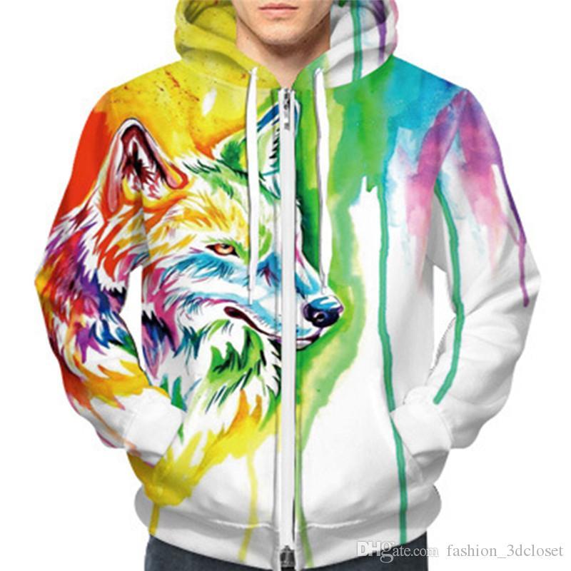 Cartoon Wolf Hooded Sweatshirt Plus Size Hot Sale Men Hoodies Tracksuit Hip Hop Harajuku Sweatshirt Zipper 3D Mens Streetwear