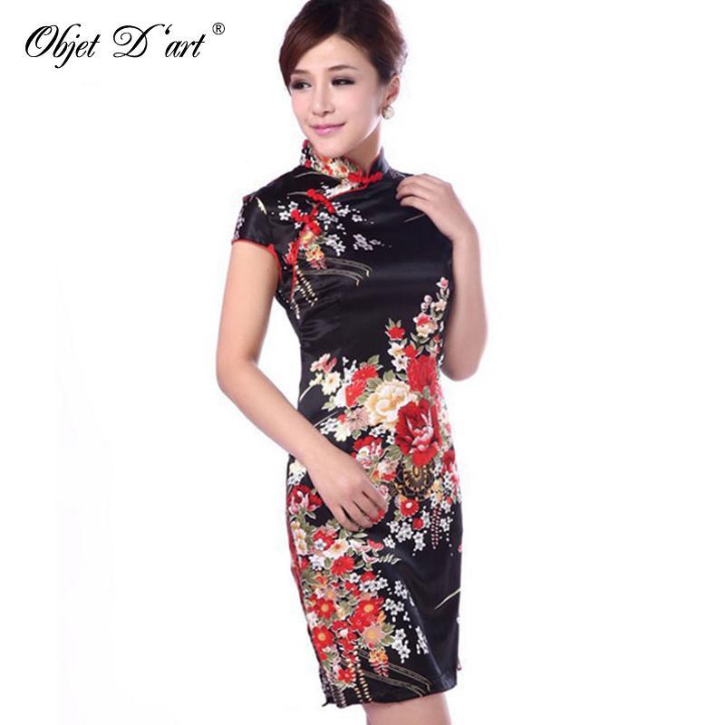 9bdcee1eb4eb1 Acheter Nouveau Satin De Soie Traditionnelle Robe Chinoise Femmes Manches Courtes  Robes Vintage Qipao Sexy Cheongsam Fleur Imprimer Mince Robe De Fête De ...