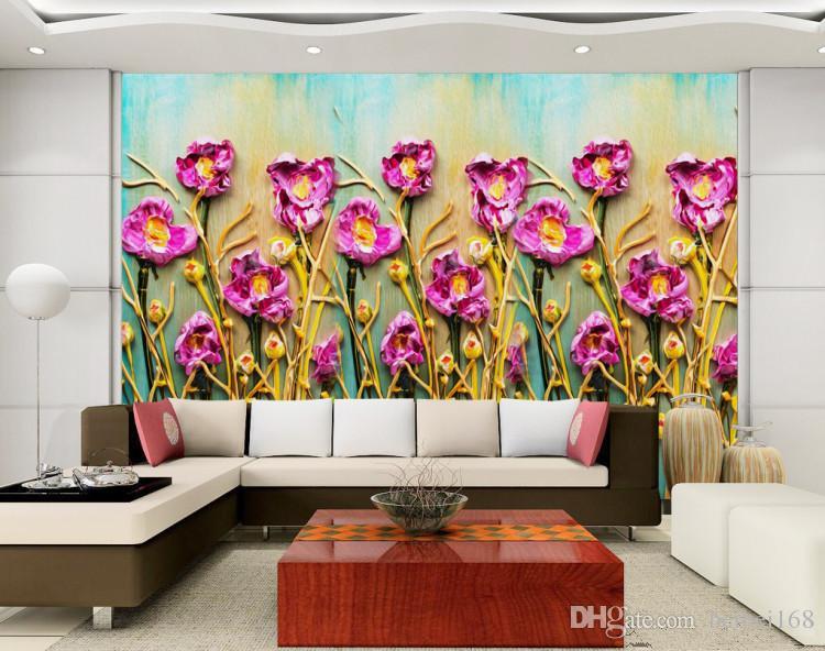 Özel fotoğraf kağıdı Bitki çiçekler pastoral Avrupa modern arka plan için haşhaş çiçekler büyük duvar 3d duvar kağıdı