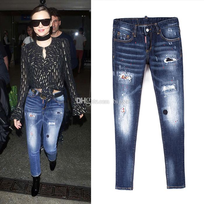 d63425df051912 2019 2018 New Europe Style Women Skinny Distressed Jeans Ripped Fashion  Hole Female Jeans Painted Dot Fashion Denim From Bigget, $39.2 | DHgate.Com