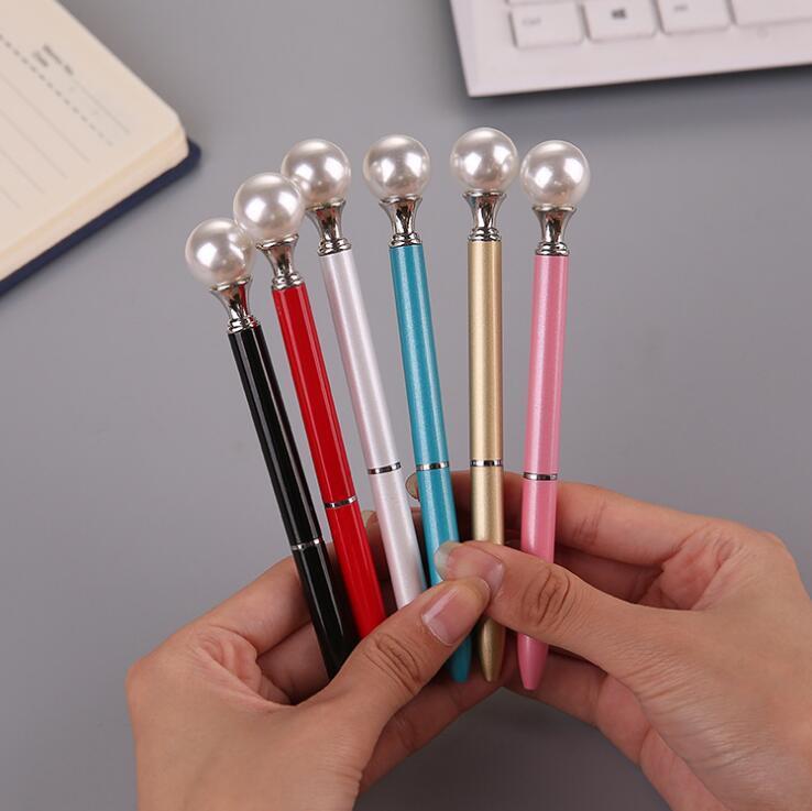 1 Piece Lytwtw s Ballpoint Pen School Supply Ball Point Creative Freebie  Novel Office Gift Pearl Metal Pen Stationery styling
