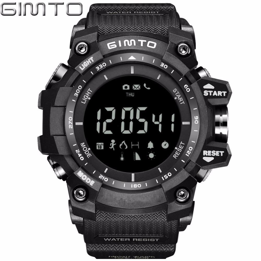 X GIMTO Cool Black Sport Smart Watch Digital Military Silicone Waterproof LED Shock electronic wrist watches Pedometer Smartwatch