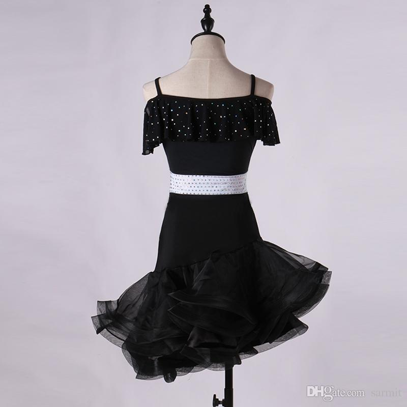 Vestido de baile latino Mujeres Niñas Salsa latina Concurso de baile Vestidos Disfraces de samba D0059 Cinturón Rhinestones Fluffy Sheer Hem